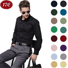 Luxury Men's Stylish Casual Dress Shirt Slim Fit T-Shirts Long Sleeve 17 Colors