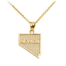 14k Yellow Gold Nevada State Map United States Pendant Necklace