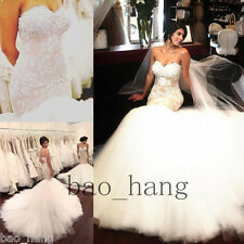 Applique Pearls Wedding Bridal Dress Mermaid Gown Backless Puffy Skirt Strapless