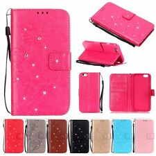 Lanyard Card Holde Diamond Leather Flip Wallet Case Cover Floral For iPhone