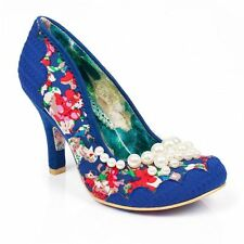NEW IRREGULAR CHOICE *PEARLY GIRLY* BLUE FLORAL (F) BEADED HEELS -UK 4-5-6-7-8.5