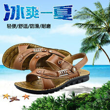 Sale Men Summer Casual Leather Beach Shoes Sandals Breathable Soft Brown Black