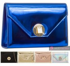 NEW PATENT LEATHER HOLOGRAM CHAIN STRAP LADIES PARTY CLUTCH HANDBAG