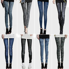 Womens Jeggings Slim Denim Look Leggings Jeans Stretchy Skinny Full Length Pants