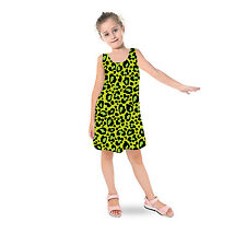 Leopard Print Bright Green Kids Sleeveless Dress Girls Flared Dress