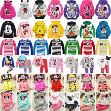 0-9Y Kids Baby Girls Mickey Minnie Hoodies Sweatshirt Coat Top Pants Outfits Set