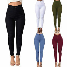 Women Casual Pencil Stretchy Skinny Pants Jeggings High Waist Trousers S-2XL NEW
