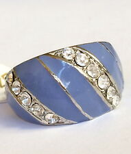 Silver Plated Lavender Purple Enamel Deco Cocktail Ring Crystal Size 8 9 USA