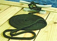 "NEW MARINE DOUBLE BRAIDED DOCK LINE BLACK 3/8""X20' BOAT"