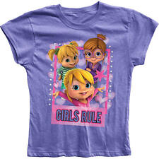 "Alvin and the Chipmunks The Chipettes Purple ""Girls Rule"" Printed T Shirt"