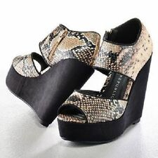 $75 Womens ROCK & REPUBLIC Platform Wedge Dress Heels Sandals BLACK TAUPE 8, 9