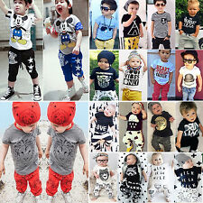 2Pcs Kids Baby Boys Outfits Short Sleeve T-shirt + Pants Casual Clothes Set 0-8Y