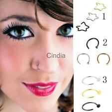 3pcs Charm Circle Star Shape Horseshoe Ring Nose Hoop Ring Earring Body Piercing
