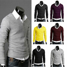 Stylish Mens Casual Slim Fit V-neck Knit Sweater Top Pullover Jumper Sweatshirt