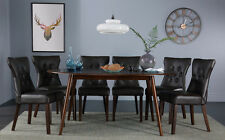 Suffolk Oval Dark Wood Dining Room Table & 4 6 Bewley Leather Chairs Set (Brown)