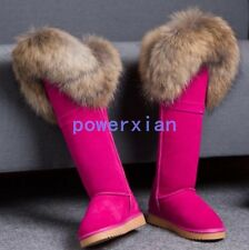 Womens Knee High Boots Flats Snow Fur Trim Shoes Winter Ride Pull On Boots Shoes