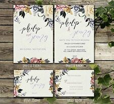 DOUBLE SIDED FLORAL WATERCOLOUR INVITATIONS WITH RSVP 10, 25, 50 OR 100
