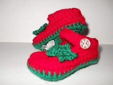 Handmade Crochet / Knit Beautiful Baby Girls Christmas Shoes / Booties 4 Sizes