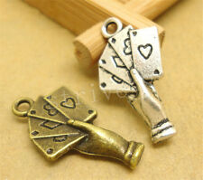 6/30/150pcs Wholesale Tibetan Silver Playing Cards Jewelry Charm Pendant 25x12mm