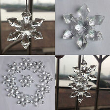 10/20Pcs Xmas Clear Snowflake Hangings Decor Christmas Tree Ornaments Decoration