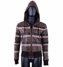 DOLCE & GABBANA Nappa Leather Stripes Jacket with Hoody Brown Black 04992