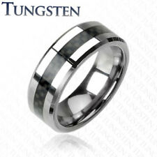 Tungsten Band Carbon Fiber Stripe Inlay Ring Black/Blue 6/8mm sz 5-15