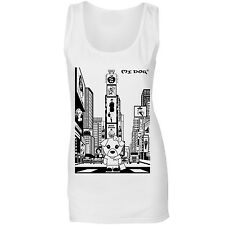 Mi Dog In New York Times Square, Womens Cute Dog Fitted Vest Top