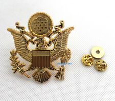 WWII US Army Military Officers Cap Eagle Badge Insignia Gold