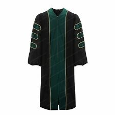 Deluxe Doctoral Graduation Gown With Gold Piping Green Velvet