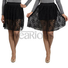 New Ladies Plus Size Floral Lace Skater Skirt Womens Flare Mini Skirt Size 6 -24