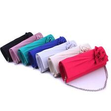 Women Handbag Shoulder Clutch Bag Evening Bag Satin Rose Evening Party
