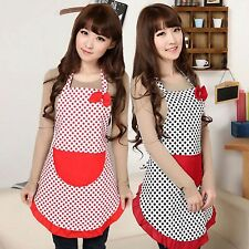 Women Lovely BowKnot Dot Kitchen Restaurant Cooking Baking Aprons with Pockets