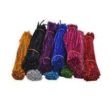 100x Coloured Glitter Chenille Stems Pipe Sticks Cleaners For Art DIY Crafts SD