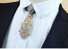 Wedding Men Rhinsetone Crystal Pre-Tied Necktie Bowtie Gold Silver Black Tie