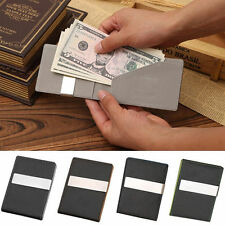 Hot Chic Leather Silver Money Clip Stainless Steel Money Clip Holder Slim Wallet