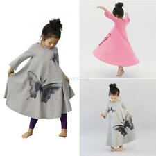 Infant Babys Girls Long Sleeve Butterfly Dress Loose Dresses Kids Clothes  2-7Y