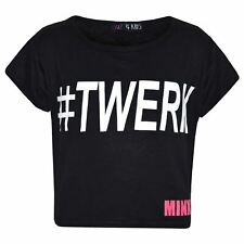 Girls Top Kids #Twerk Print Stylish Fashion Trendy T Shirt Crop Top 7-13 Years