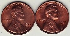 BU 1970-S SMALL DATE Copper Lincoln Cent with LARGE DATE Variety For Comparison