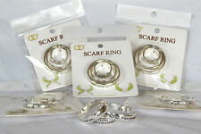 NWT WOMENS INSPIRATIONAL QUOTES SILVER & BLACK 3 PC SCARF RING/SLIDER/HOLDER SET