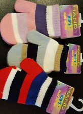 MITTENS CHILDRENS KIDS 'MAGIC MITTENS' WARM STRIPED WOOLLY KNITTED 2 TO 4 YEARS