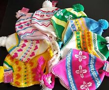 CHILDRENS BOBBLE HAT PERUVIAN STYLE AND KNITTED PLAITS WARM FLEECE LINED 3-5YRS