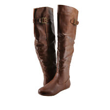 Women's Shoes Bamboo Rebeca 60 Buckle Tall Riding Boots Chestnut *New*