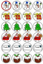 30-90 PRE-CUT EDIBLE WAFER CUP CAKE TOPPERS CHRISTMAS SANTA CLAUS SNOWMAN GIFT