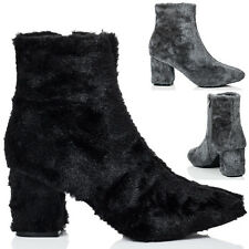 Womens Synthetic Furry Hairy Block Heel Ankle Boots Shoes Sz 3-8