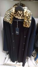 ZARA women 2017 COAT WITH FAUX FUR leopard COLLAR NAVY BLUE S-XL REF. 6873/127