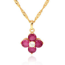 18K Gold Plated Multicolor crystal Flower Pendant Fit Chain Necklace