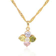 18K Gold Plated Multicolor crystal Circle Flower Pendant Fit Chain Necklace
