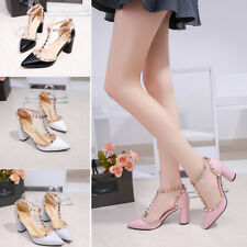 Sexy Women's Party Shoes Rivets Strap Pointed-toe Kitten High Heel Shoes Sandals