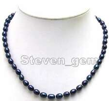 SALE Big 8-9MM Rice BLACK Natural Freshwater PEARL 17'' NECKLACE -nec5590