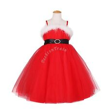 Toddler Flower Girls Wedding Party Pageant Christmas Tulle Costumes Dress 2T- 8